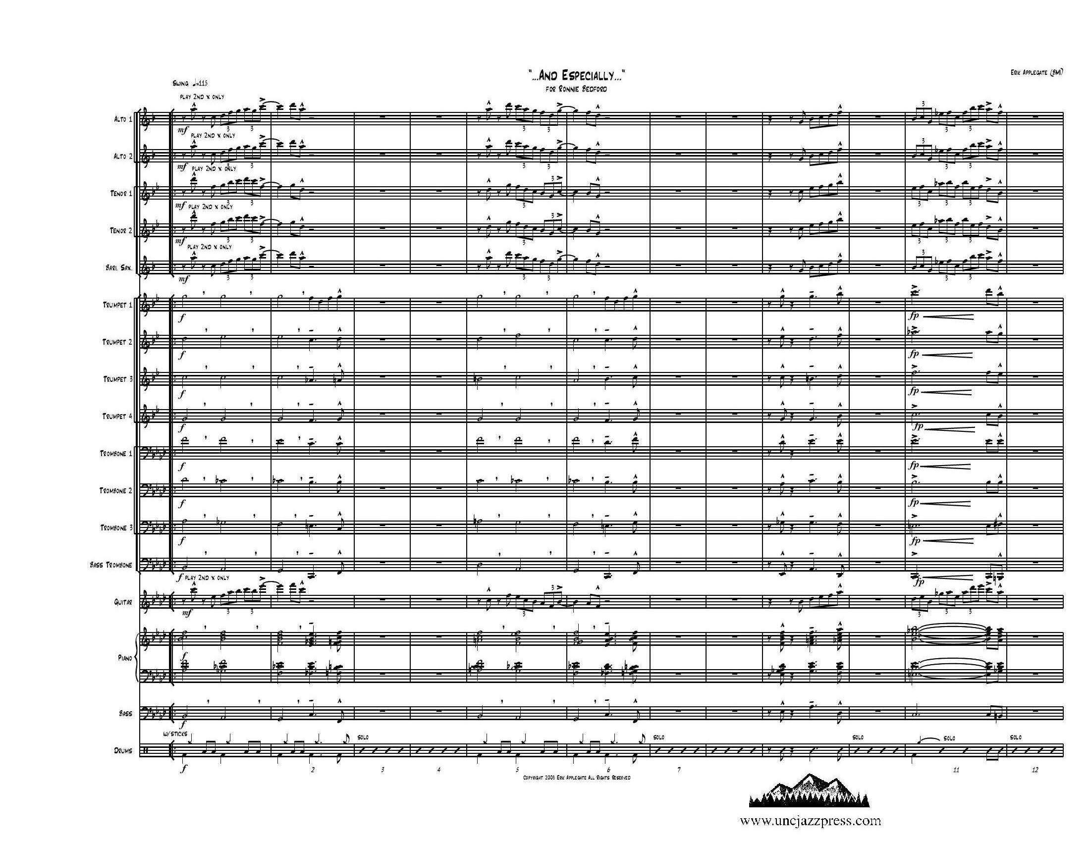 Browse charts by Style: Swing-Medium, UNC Jazz Press, jazz charts