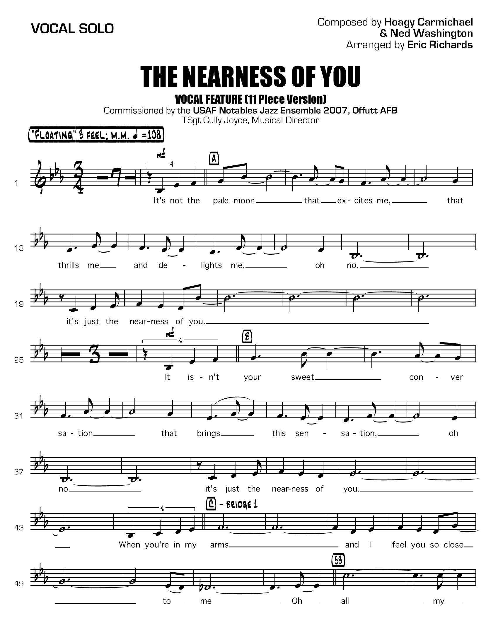 The Nearness of You - PDF Download - Small Big Band with Vocal, by Eric  Richards